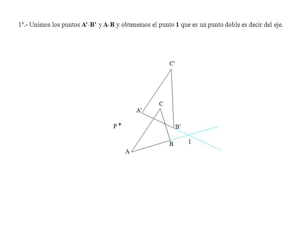 1º.- Unimos los puntos A-B y A-B y obtenemos el punto 1 que es un punto doble es decir del eje.