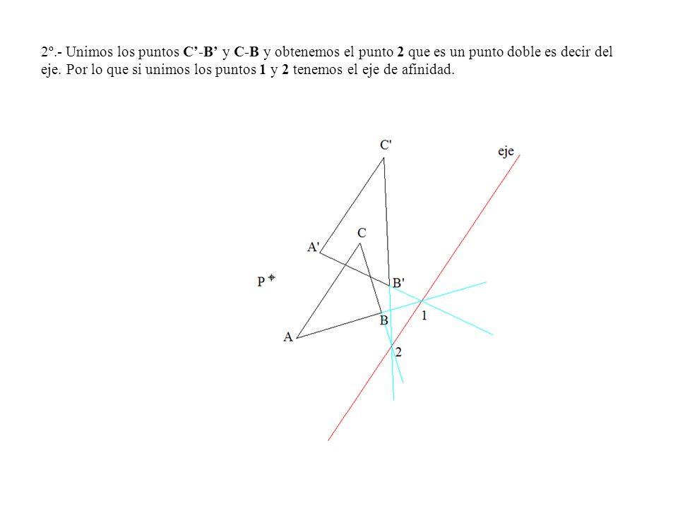 2º.- Unimos los puntos C-B y C-B y obtenemos el punto 2 que es un punto doble es decir del eje. Por lo que si unimos los puntos 1 y 2 tenemos el eje d