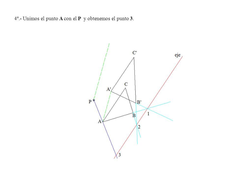 4º.- Unimos el punto A con el P y obtenemos el punto 3.