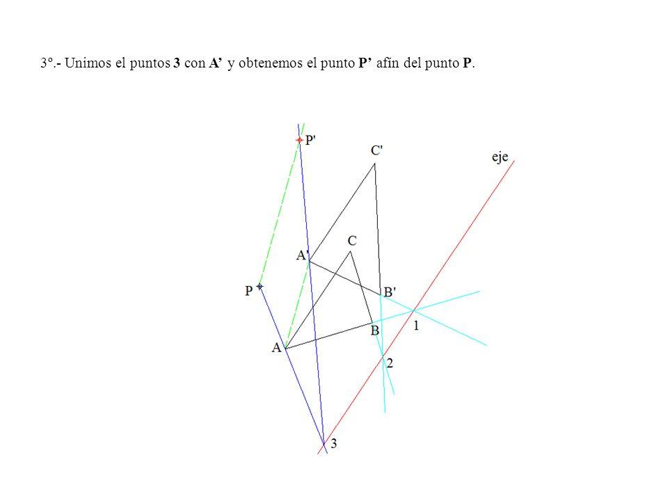 3º.- Unimos el puntos 3 con A y obtenemos el punto P afín del punto P.
