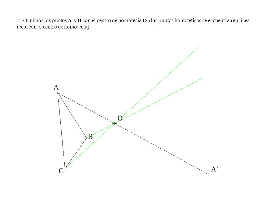 1º.- Unimos los puntos A y B con el centro de homotecia O (los puntos homotéticos se encuentran en línea recta con el centro de homotecia).