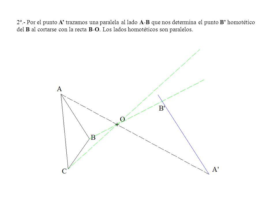 2º.- Por el punto A trazamos una paralela al lado A-B que nos determina el punto B homotético del B al cortarse con la recta B-O. Los lados homotético
