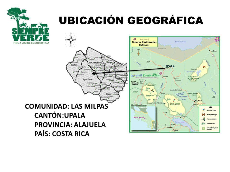 UBICACIÓN GEOGRÁFICA UPALA COMUNIDAD: LAS MILPAS CANTÓN:UPALA PROVINCIA: ALAJUELA PAÍS: COSTA RICA