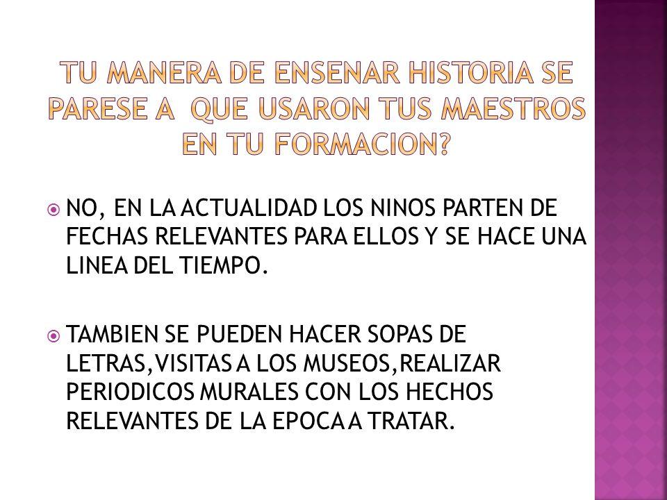 NO, EN LA ACTUALIDAD LOS NINOS PARTEN DE FECHAS RELEVANTES PARA ELLOS Y SE HACE UNA LINEA DEL TIEMPO.