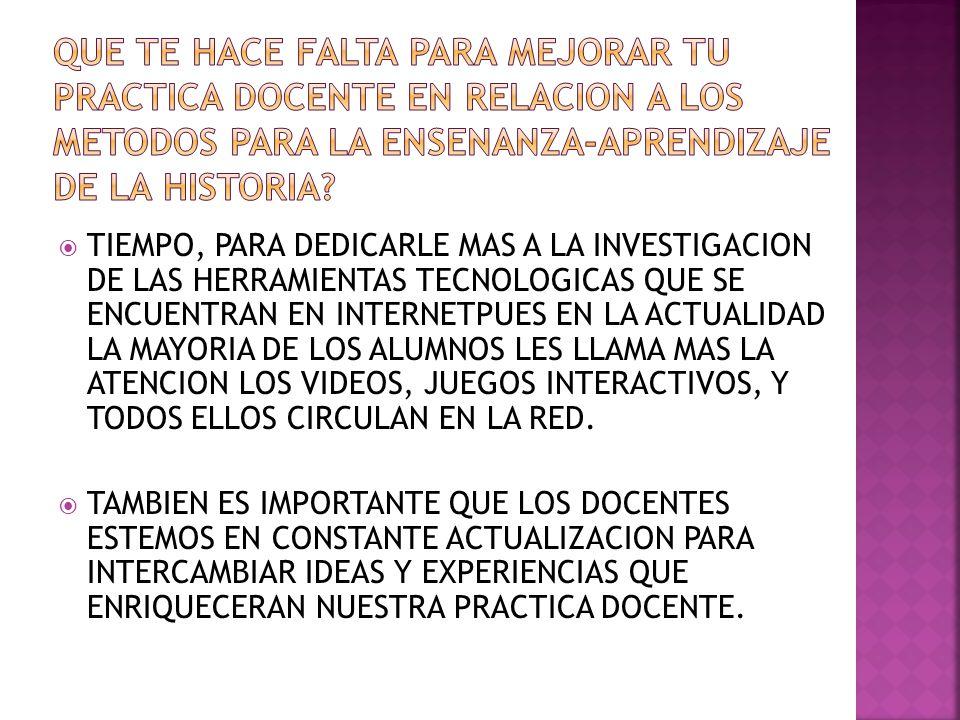 TIEMPO, PARA DEDICARLE MAS A LA INVESTIGACION DE LAS HERRAMIENTAS TECNOLOGICAS QUE SE ENCUENTRAN EN INTERNETPUES EN LA ACTUALIDAD LA MAYORIA DE LOS ALUMNOS LES LLAMA MAS LA ATENCION LOS VIDEOS, JUEGOS INTERACTIVOS, Y TODOS ELLOS CIRCULAN EN LA RED.