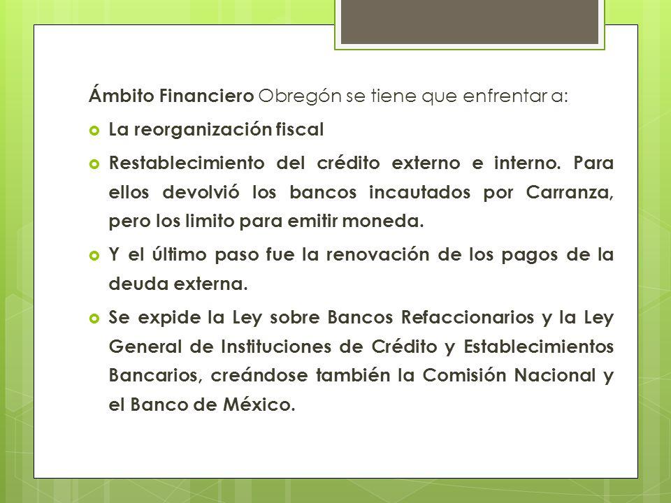 Ámbito Financiero Obregón se tiene que enfrentar a: La reorganización fiscal Restablecimiento del crédito externo e interno. Para ellos devolvió los b