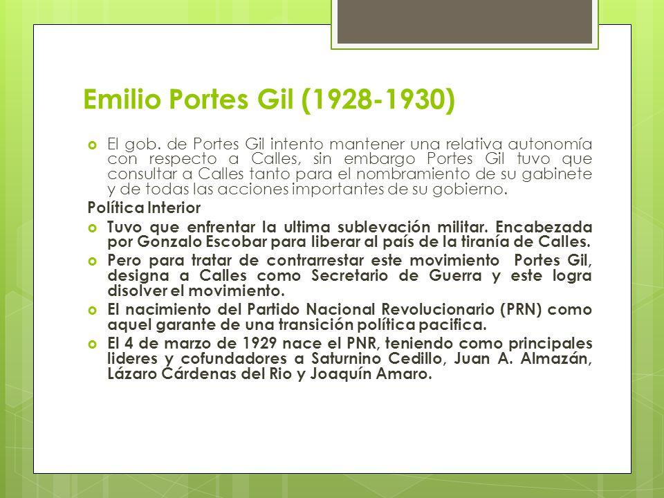Emilio Portes Gil (1928-1930) El gob. de Portes Gil intento mantener una relativa autonomía con respecto a Calles, sin embargo Portes Gil tuvo que con