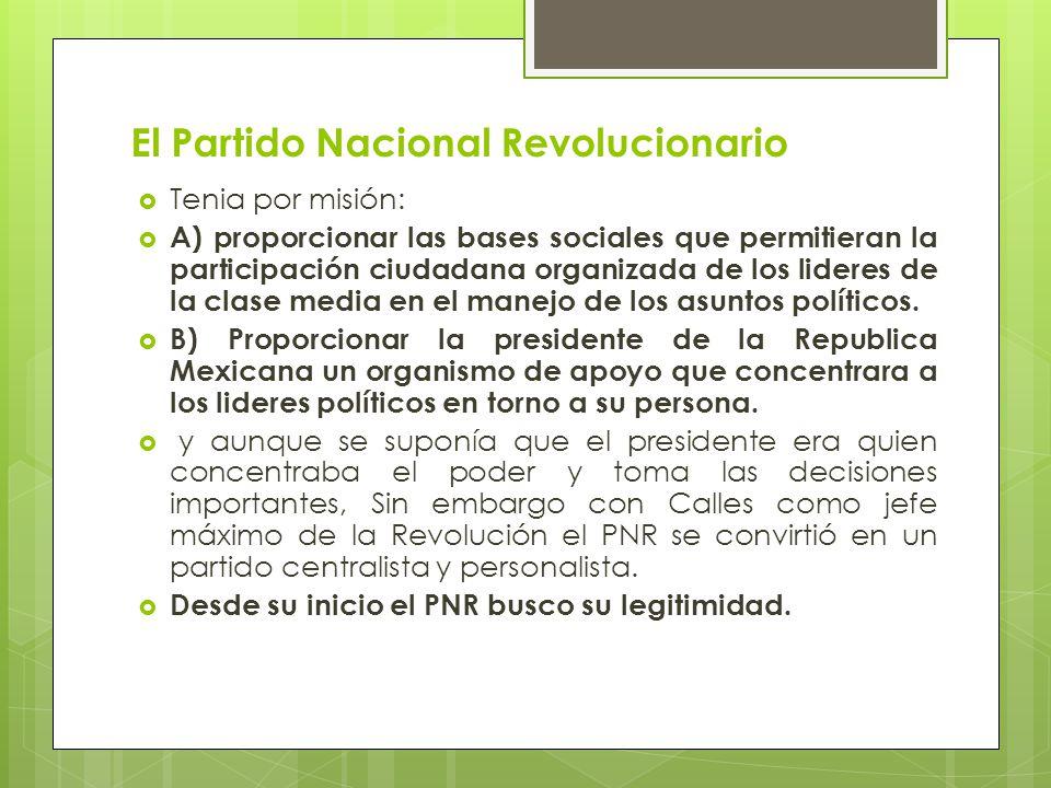 El Partido Nacional Revolucionario Tenia por misión: A) proporcionar las bases sociales que permitieran la participación ciudadana organizada de los l