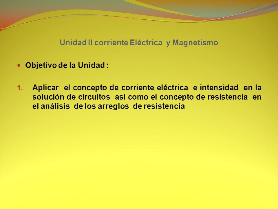 Unidad II corriente Eléctrica y Magnetismo Objetivo de la Unidad : 1.