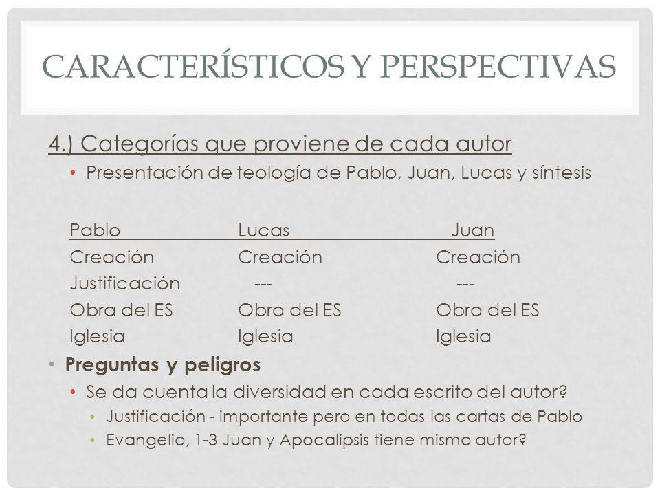 CARACTERÍSTICOS Y PERSPECTIVAS 4.) Categorías que proviene de cada autor Presentación de teología de Pablo, Juan, Lucas y síntesis PabloLucas Juan Cre