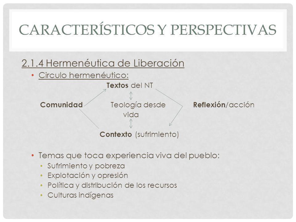 CARACTERÍSTICOS Y PERSPECTIVAS 2.1.4 Hermenéutica de Liberación Circulo hermenéutico: Textos del NT Comunidad Teología desde Reflexión /acción vida Co