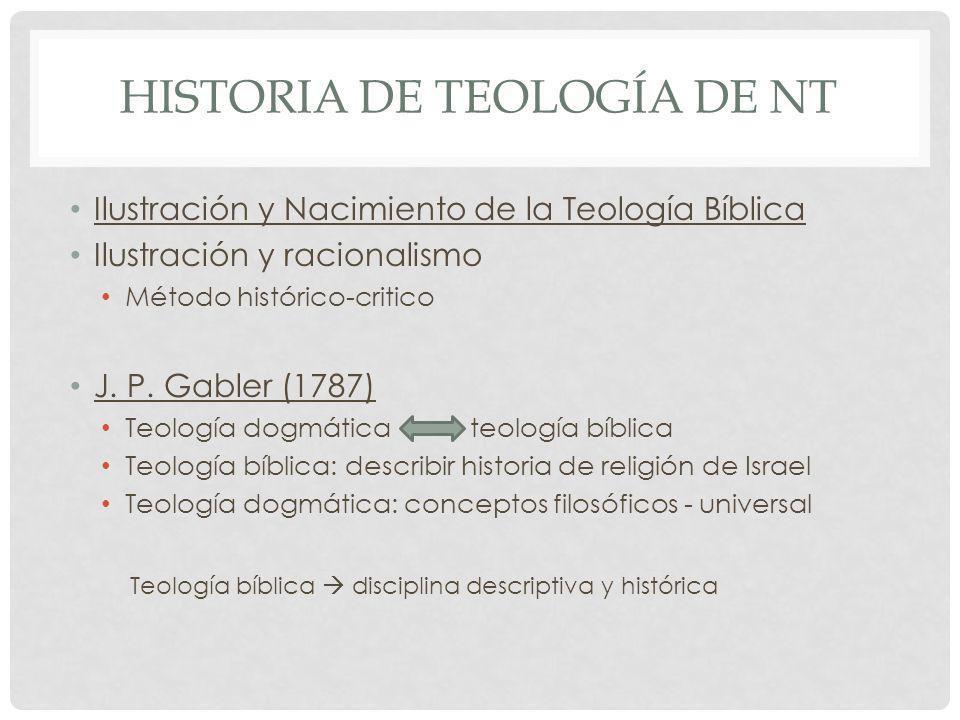 HISTORIA DE TEOLOGÍA DE NT Ilustración y Nacimiento de la Teología Bíblica Ilustración y racionalismo Método histórico-critico J. P. Gabler (1787) Teo
