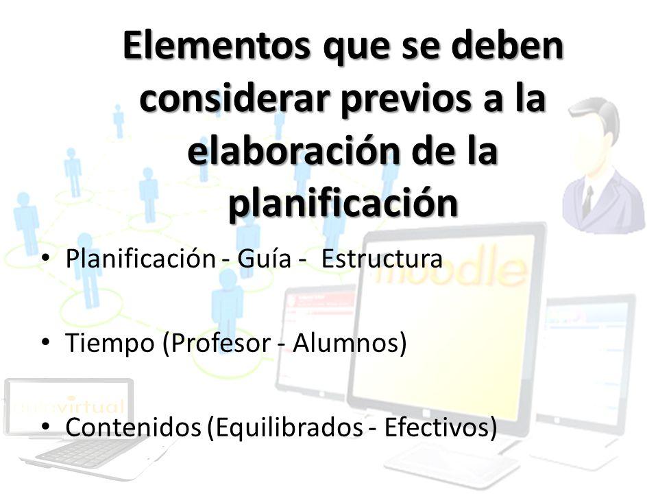 Elementos que se deben considerar previos a la elaboración de la planificación Planificación - Guía - Estructura Tiempo (Profesor - Alumnos) Contenido