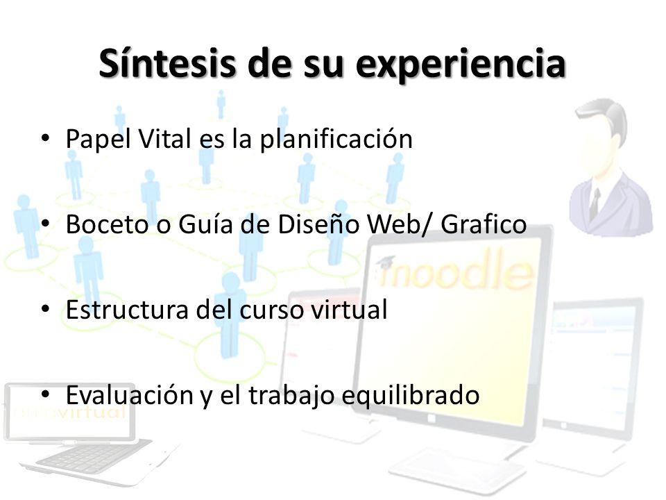 Síntesis de su experiencia Papel Vital es la planificación Boceto o Guía de Diseño Web/ Grafico Estructura del curso virtual Evaluación y el trabajo e
