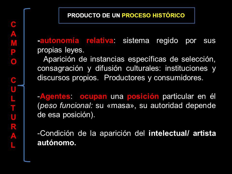 CAMPOCULTURALCAMPOCULTURAL -autonomía relativa: sistema regido por sus propias leyes. Aparición de instancias específicas de selección, consagración y