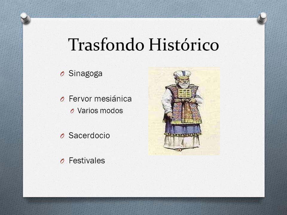 Trasfondo Histórico O Sinagoga O Fervor mesiánica O Varios modos O Sacerdocio O Festivales