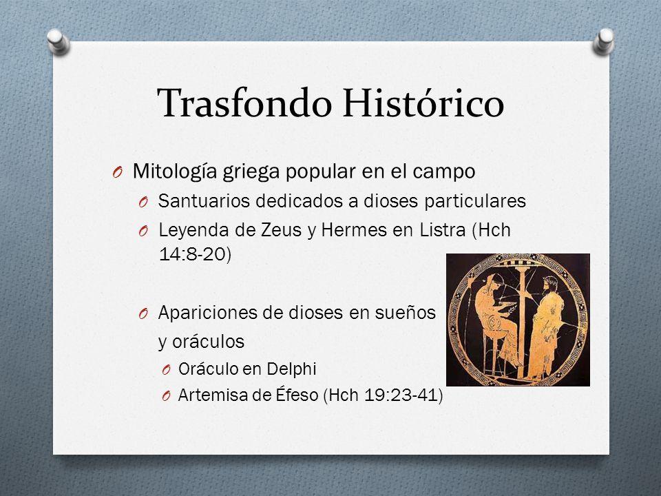 Trasfondo Histórico O Mitología griega popular en el campo O Santuarios dedicados a dioses particulares O Leyenda de Zeus y Hermes en Listra (Hch 14:8-20) O Apariciones de dioses en sueños y oráculos O Oráculo en Delphi O Artemisa de Éfeso (Hch 19:23-41)
