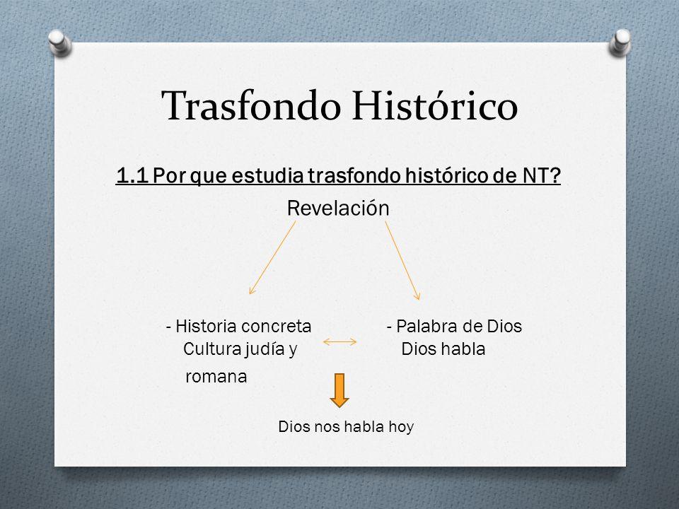 Trasfondo Histórico 1.1 Por que estudia trasfondo histórico de NT? Revelación - Historia concreta- Palabra de Dios Cultura judía y Dios habla romana D