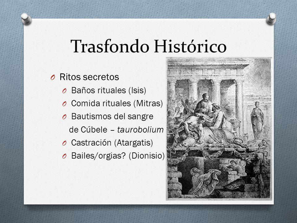 Trasfondo Histórico O Ritos secretos O Baños rituales (Isis) O Comida rituales (Mitras) O Bautismos del sangre de Cúbele – taurobolium O Castración (Atargatis) O Bailes/orgias.