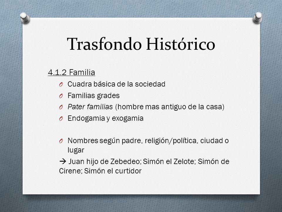 Trasfondo Histórico 4.1.2 Familia O Cuadra básica de la sociedad O Familias grades O Pater familias (hombre mas antiguo de la casa) O Endogamia y exog