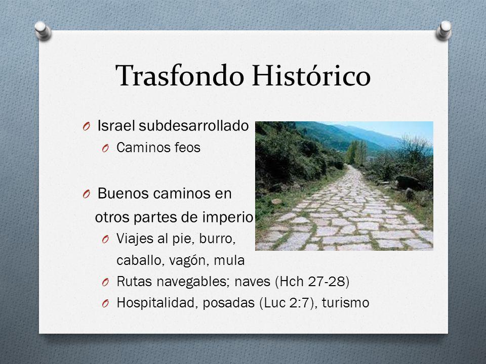 Trasfondo Histórico O Israel subdesarrollado O Caminos feos O Buenos caminos en otros partes de imperio O Viajes al pie, burro, caballo, vagón, mula O