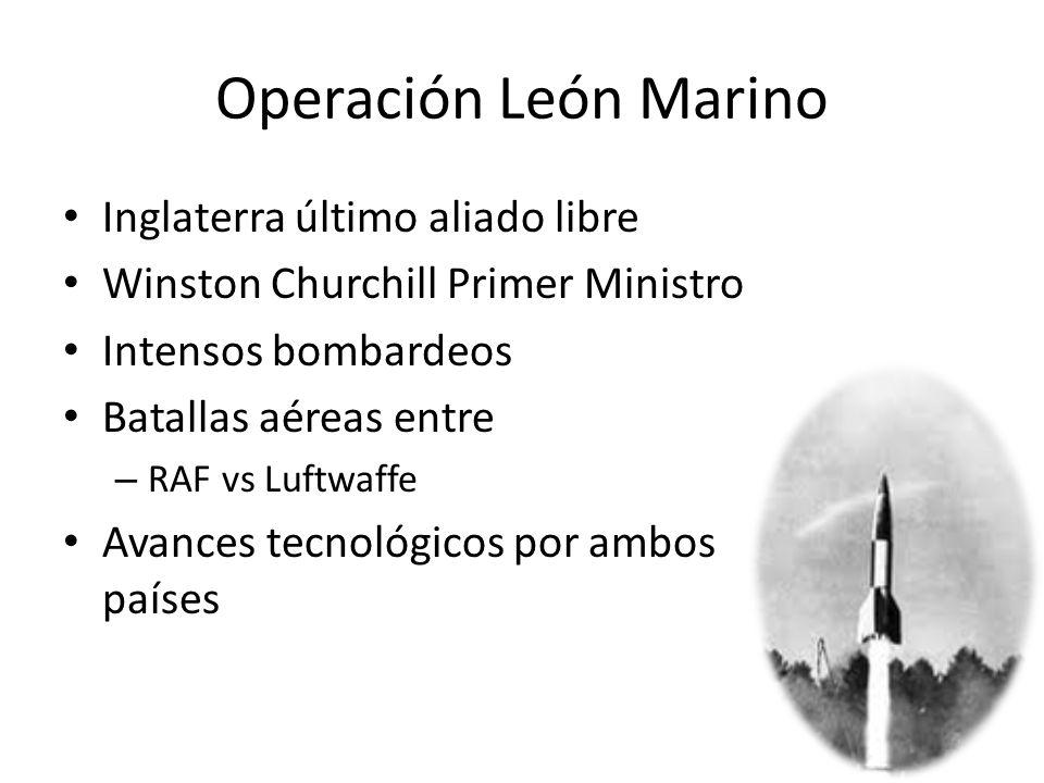 Operación León Marino Inglaterra último aliado libre Winston Churchill Primer Ministro Intensos bombardeos Batallas aéreas entre – RAF vs Luftwaffe Av