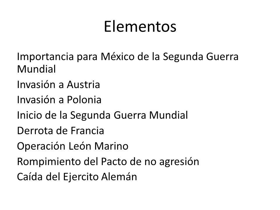 Elementos Importancia para México de la Segunda Guerra Mundial Invasión a Austria Invasión a Polonia Inicio de la Segunda Guerra Mundial Derrota de Fr