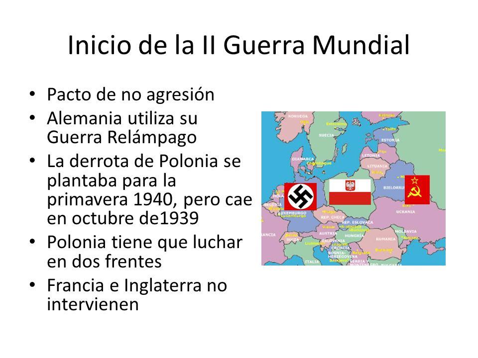 Inicio de la II Guerra Mundial Pacto de no agresión Alemania utiliza su Guerra Relámpago La derrota de Polonia se plantaba para la primavera 1940, per