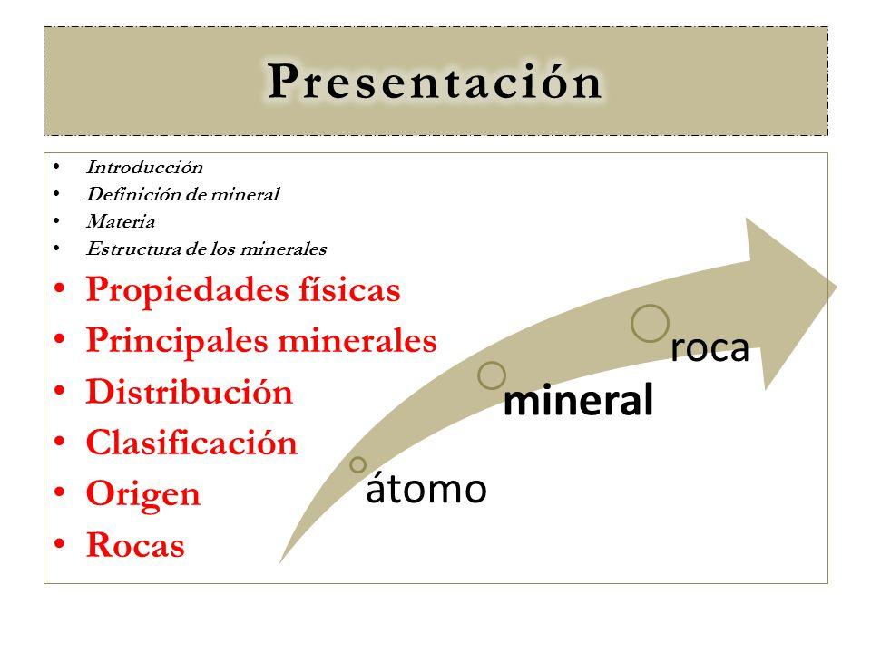 átomo mineral roca Introducción Definición de mineral Materia Estructura de los minerales Propiedades físicas Principales minerales Distribución Clasi