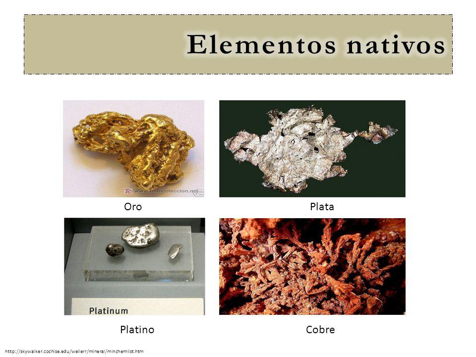 Cobre PlataOro Platino http://skywalker.cochise.edu/wellerr/mineral/minchemlist.htm