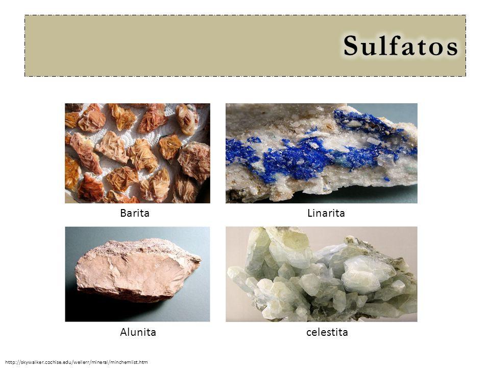 Barita celestita Linarita Alunita http://skywalker.cochise.edu/wellerr/mineral/minchemlist.htm