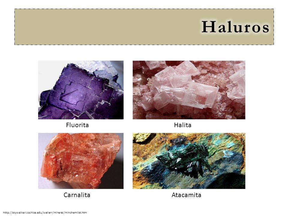 FluoritaHalita AtacamitaCarnalita http://skywalker.cochise.edu/wellerr/mineral/minchemlist.htm