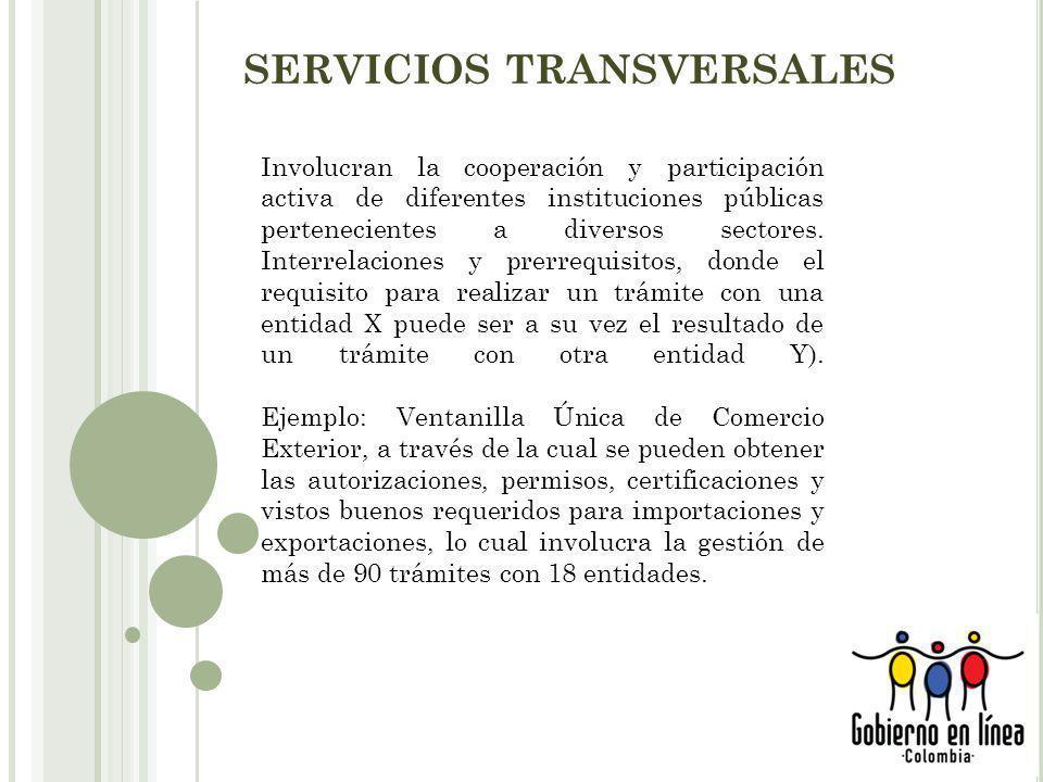 SERVICIOS TRANSVERSALES Involucran la cooperación y participación activa de diferentes instituciones públicas pertenecientes a diversos sectores.