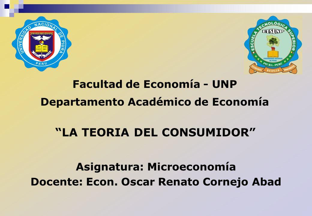 Facultad de Economía - UNP Departamento Académico de Economía Asignatura: Microeconomía Docente: Econ. Oscar Renato Cornejo Abad LA TEORIA DEL CONSUMI