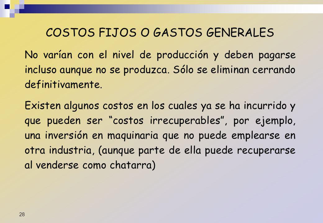 COSTOS FIJOS O GASTOS GENERALES No varían con el nivel de producción y deben pagarse incluso aunque no se produzca. Sólo se eliminan cerrando definiti