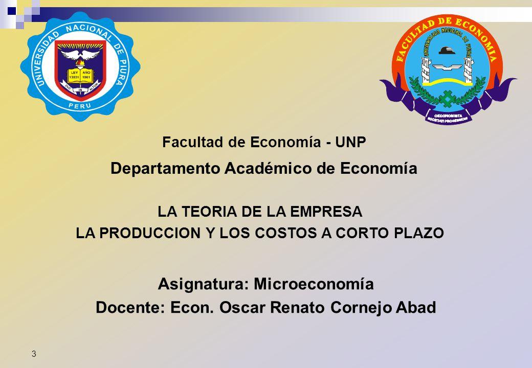 Facultad de Economía - UNP Departamento Académico de Economía Asignatura: Microeconomía Docente: Econ. Oscar Renato Cornejo Abad LA TEORIA DE LA EMPRE