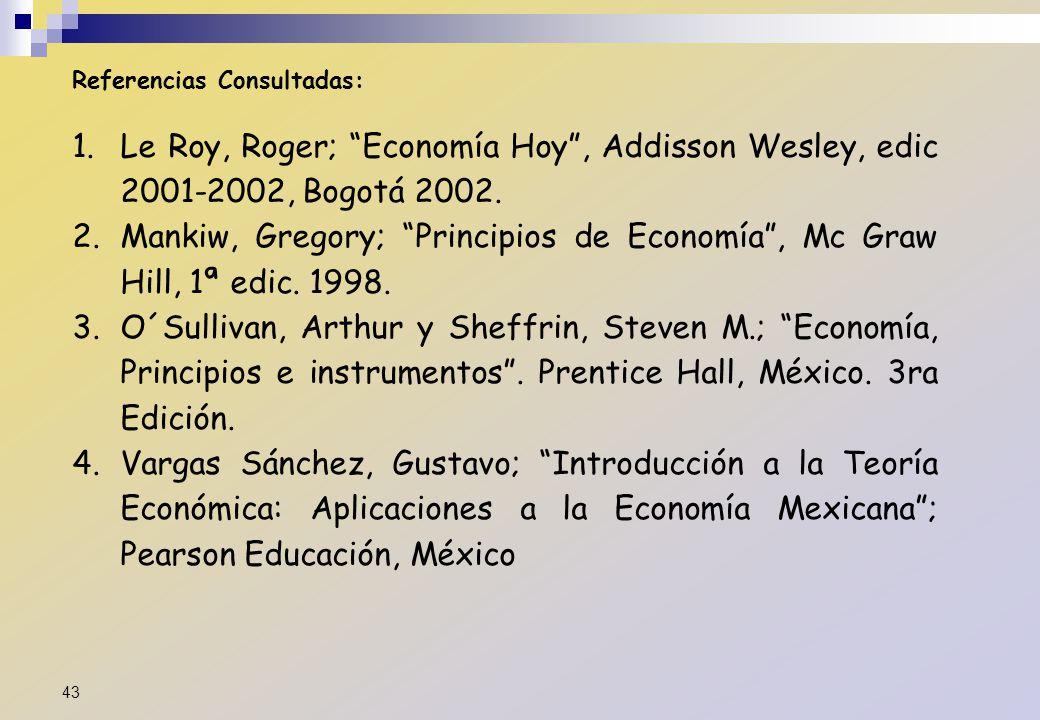 Referencias Consultadas: 1.Le Roy, Roger; Economía Hoy, Addisson Wesley, edic 2001-2002, Bogotá 2002. 2.Mankiw, Gregory; Principios de Economía, Mc Gr
