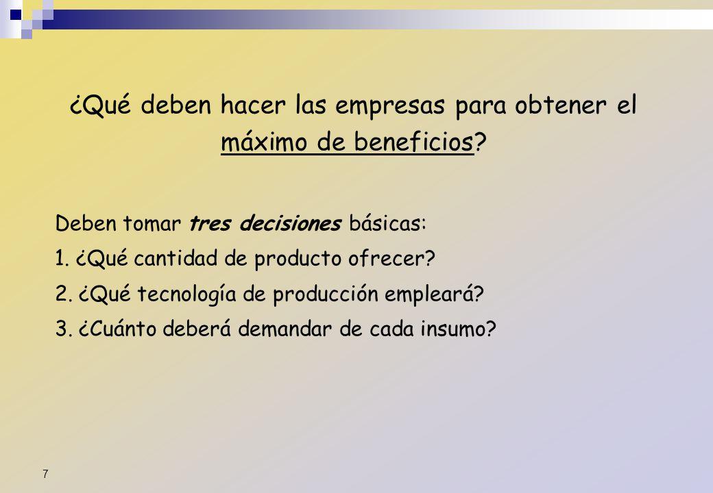¿Qué deben hacer las empresas para obtener el máximo de beneficios? Deben tomar tres decisiones básicas: 1. ¿Qué cantidad de producto ofrecer? 2. ¿Qué