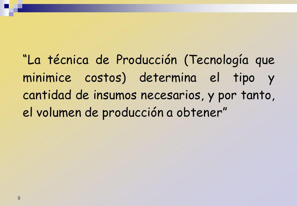 La técnica de Producción (Tecnología que minimice costos) determina el tipo y cantidad de insumos necesarios, y por tanto, el volumen de producción a
