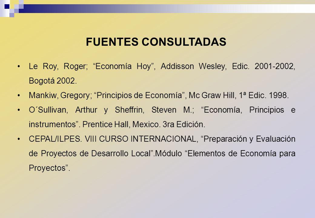 FUENTES CONSULTADAS Le Roy, Roger; Economía Hoy, Addisson Wesley, Edic. 2001-2002, Bogotá 2002. Mankiw, Gregory; Principios de Economía, Mc Graw Hill,