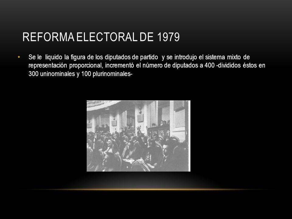 REFORMA ELECTORAL DE 1979 Se le liquido la figura de los diputados de partido y se introdujo el sistema mixto de representación proporcional, incremen