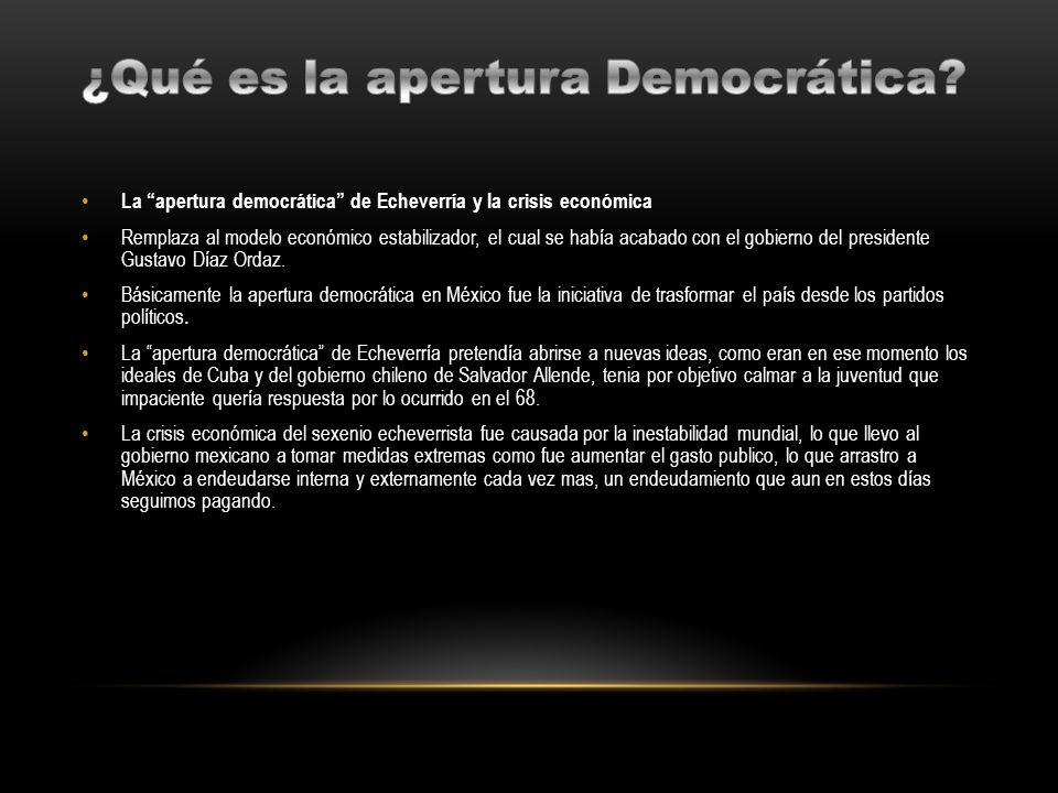 La apertura democrática de Echeverría y la crisis económica Remplaza al modelo económico estabilizador, el cual se había acabado con el gobierno del p