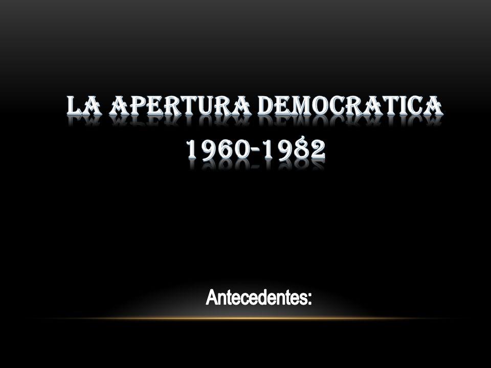 La apertura democrática de Echeverría y la crisis económica Remplaza al modelo económico estabilizador, el cual se había acabado con el gobierno del presidente Gustavo Díaz Ordaz.