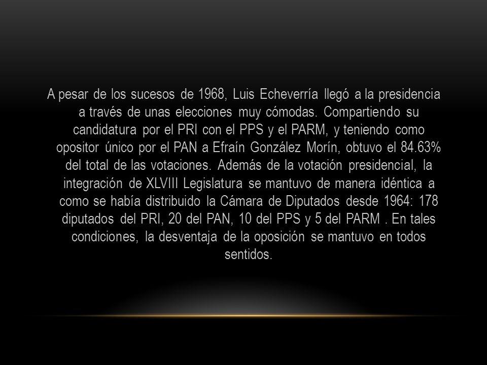 A pesar de los sucesos de 1968, Luis Echeverría llegó a la presidencia a través de unas elecciones muy cómodas. Compartiendo su candidatura por el PRI