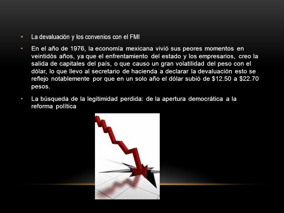 La devaluación y los convenios con el FMI En el año de 1976, la economía mexicana vivió sus peores momentos en veintidós años, ya que el enfrentamient