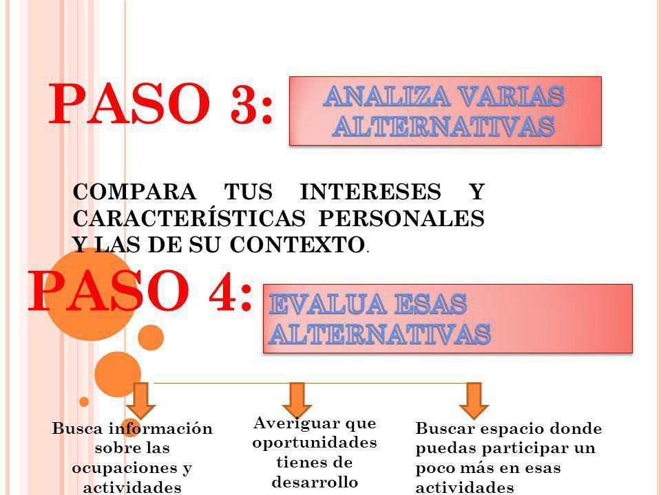 PASO 3: PASO 4: COMPARA TUS INTERESES Y CARACTERÍSTICAS PERSONALES Y LAS DE SU CONTEXTO. Busca información sobre las ocupaciones y actividades Averigu