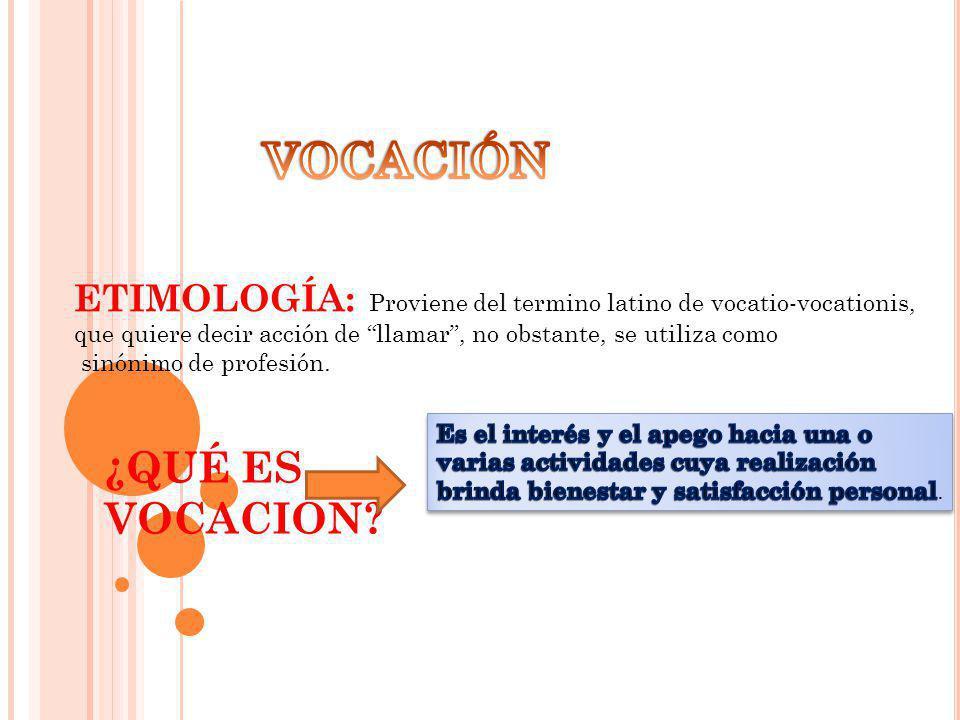 ETIMOLOGÍA: Proviene del termino latino de vocatio-vocationis, que quiere decir acción de llamar, no obstante, se utiliza como sinónimo de profesión.