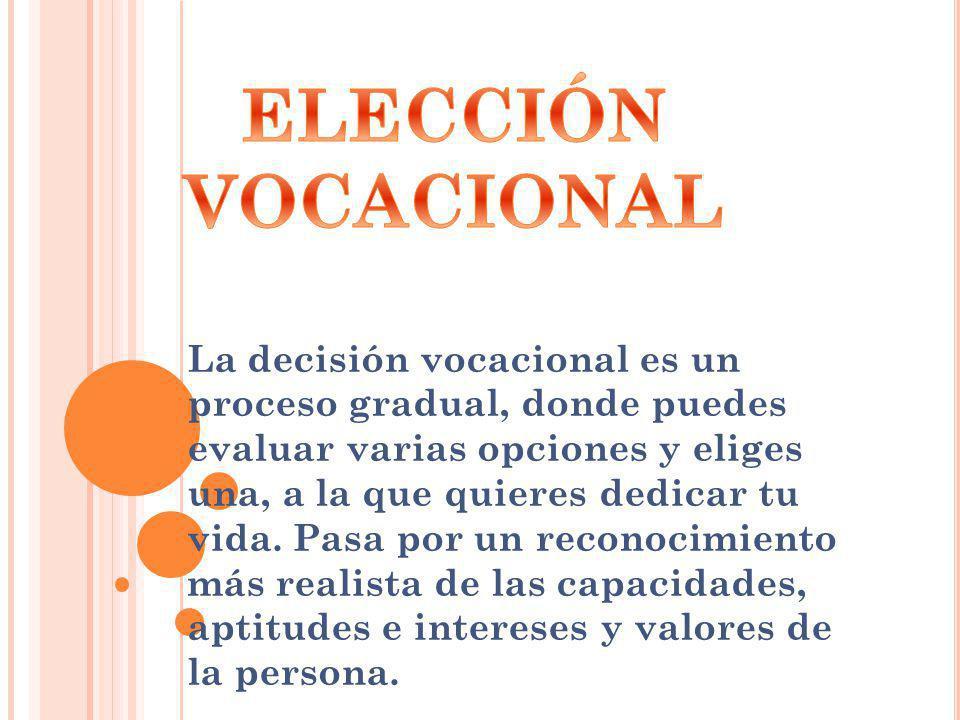 La decisión vocacional es un proceso gradual, donde puedes evaluar varias opciones y eliges una, a la que quieres dedicar tu vida. Pasa por un reconoc