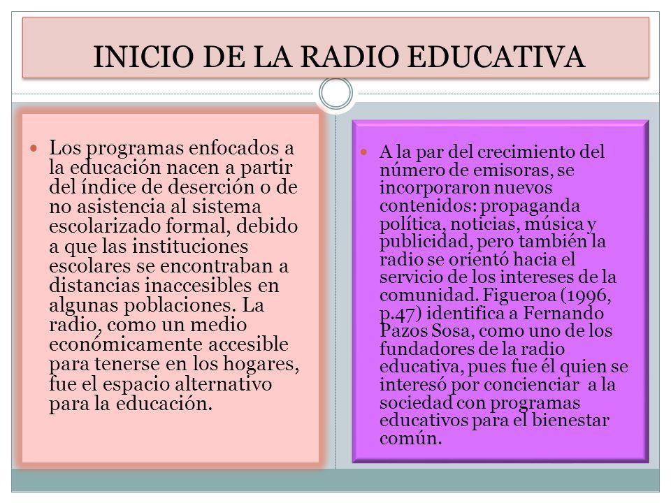 INICIO DE LA RADIO EDUCATIVA Los programas enfocados a la educación nacen a partir del índice de deserción o de no asistencia al sistema escolarizado