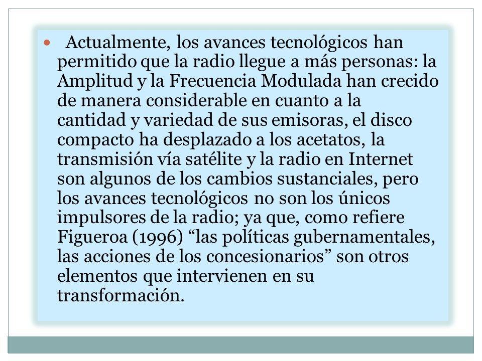 Actualmente, los avances tecnológicos han permitido que la radio llegue a más personas: la Amplitud y la Frecuencia Modulada han crecido de manera con